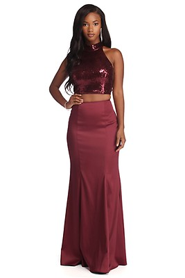 2045fc5c Emmie Gold Formal Sequin Two Piece Dress
