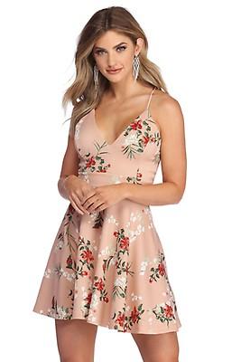 06b2c111 CLEARANCE- Spring Fling Floral Skater Dress
