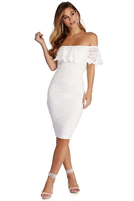 34ef36decb Cheryl Ivory Formal Lace Midi Dress