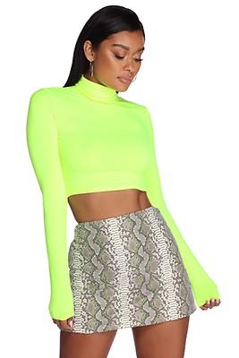 0b5da7362fe646 Neon Green Doing Knit Right Crop Top