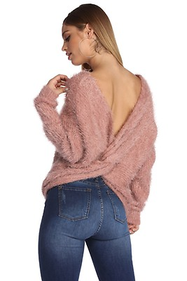 5836c70494 FINAL SALE- Knot Over You Eyelash Sweater