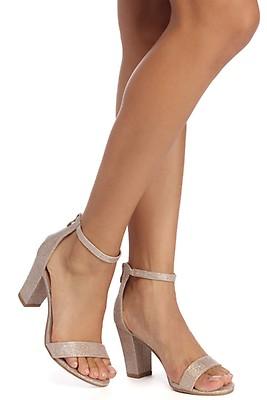 b46aa7dd474 Silver Glitter Queen Block Heels