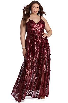f48f0aac870 Plus Anika Formal Sequin Scroll Dress