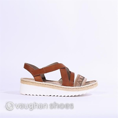 76bb2710882a Rieker Sandal Crisscross Strap  Diamante - Tan