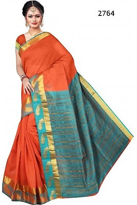 a1998954fdf1e8 PCS19122 Mustard and Jade Green Poly Cotton Saree