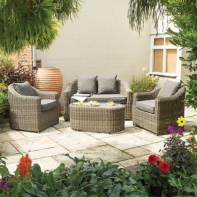e71bd8dc1b1b Rowlinson Thornbury Corner Rattan Garden Table and Chairs Set | Buy ...