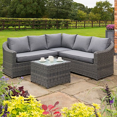 a7d17951f9ae Rowlinson Thornbury Rattan Corner Garden Dining Set - Grey | Buy ...