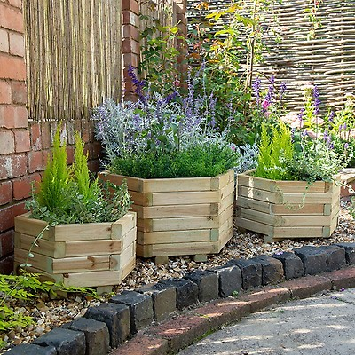 Forest York Hexagonal Wooden Garden Planter 3 X1 8 0 9x0 5m Set Of 3 Buy Sheds Direct